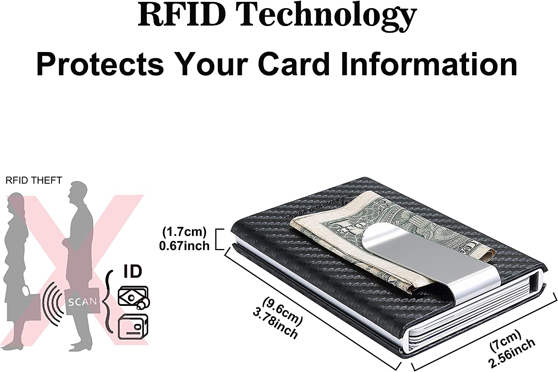 for Front Pocket Money Clip Lightweight Aluminum//Metal Credit Card Holder Carbon Fiber PU Leather Tarasun RFID Blocking Card Holder//Case for Men RFID Pop-Up Card Holder Minimalist Wallet Slim