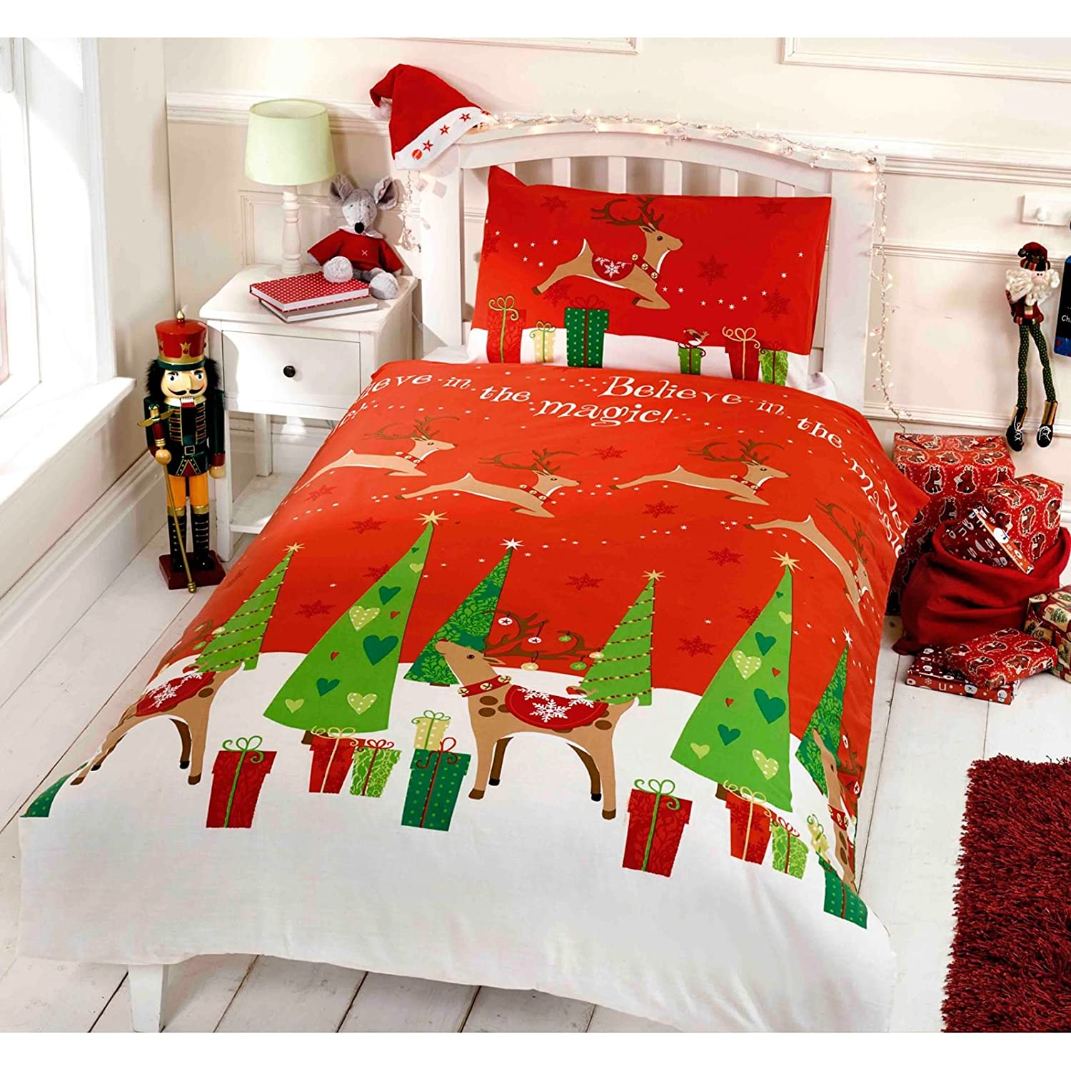 Believe Christmas Double Duvet /US Full Cover and Pillowcase Set