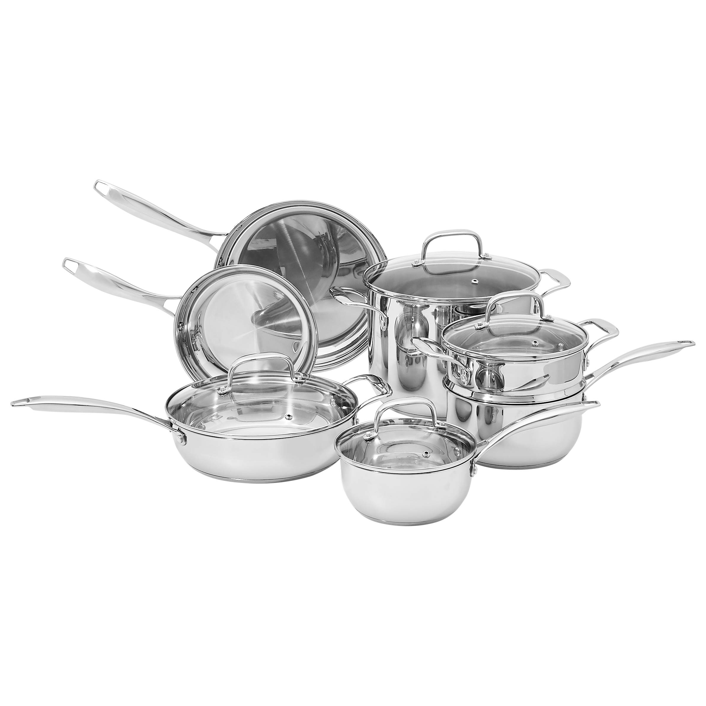 Amazon Basics CW1904222 Cookware Set, 11-Piece, Silver