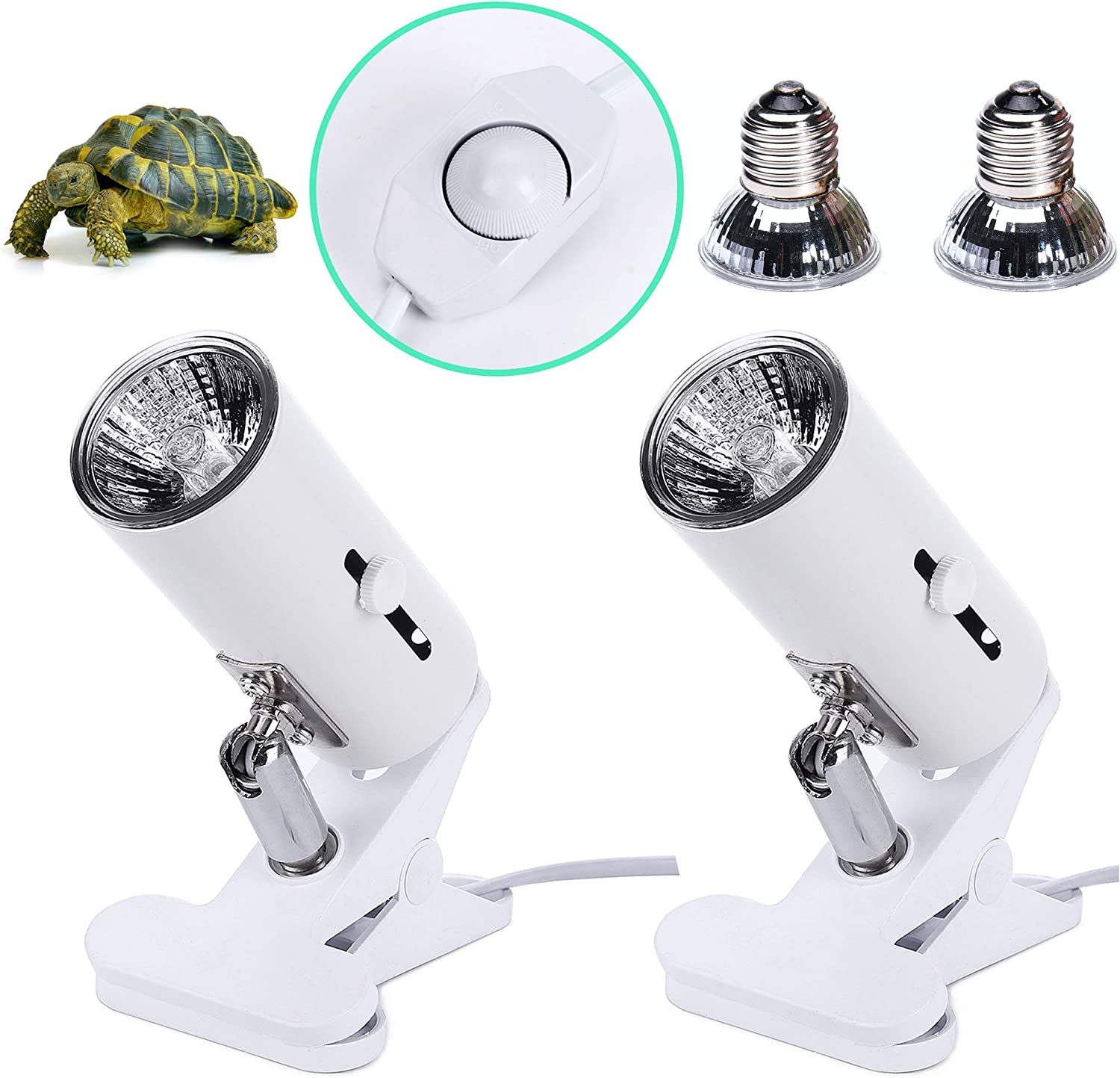 Adjustable and Rotates 360/° Terrariums Cages Works with Various Light Bulbs CalPalmy 2-Pack 50W UVA UVB Dimmable Switch Lamp Lights with Bulbs  Heat and Light for Reptiles and Amphibian Tanks