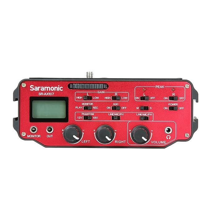 Saramonic SR-AX107 Dos-Canal-XLR-Audio-Adaptador de preamplificador, alimentación Fantasma y Transformador de Aislamiento para cámaras réflex Digitales y ...