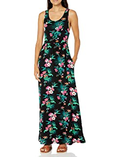 Brand 28 Palms Womens Tropical Hawaiian Print Sleeveless Maxi Dress with Pockets