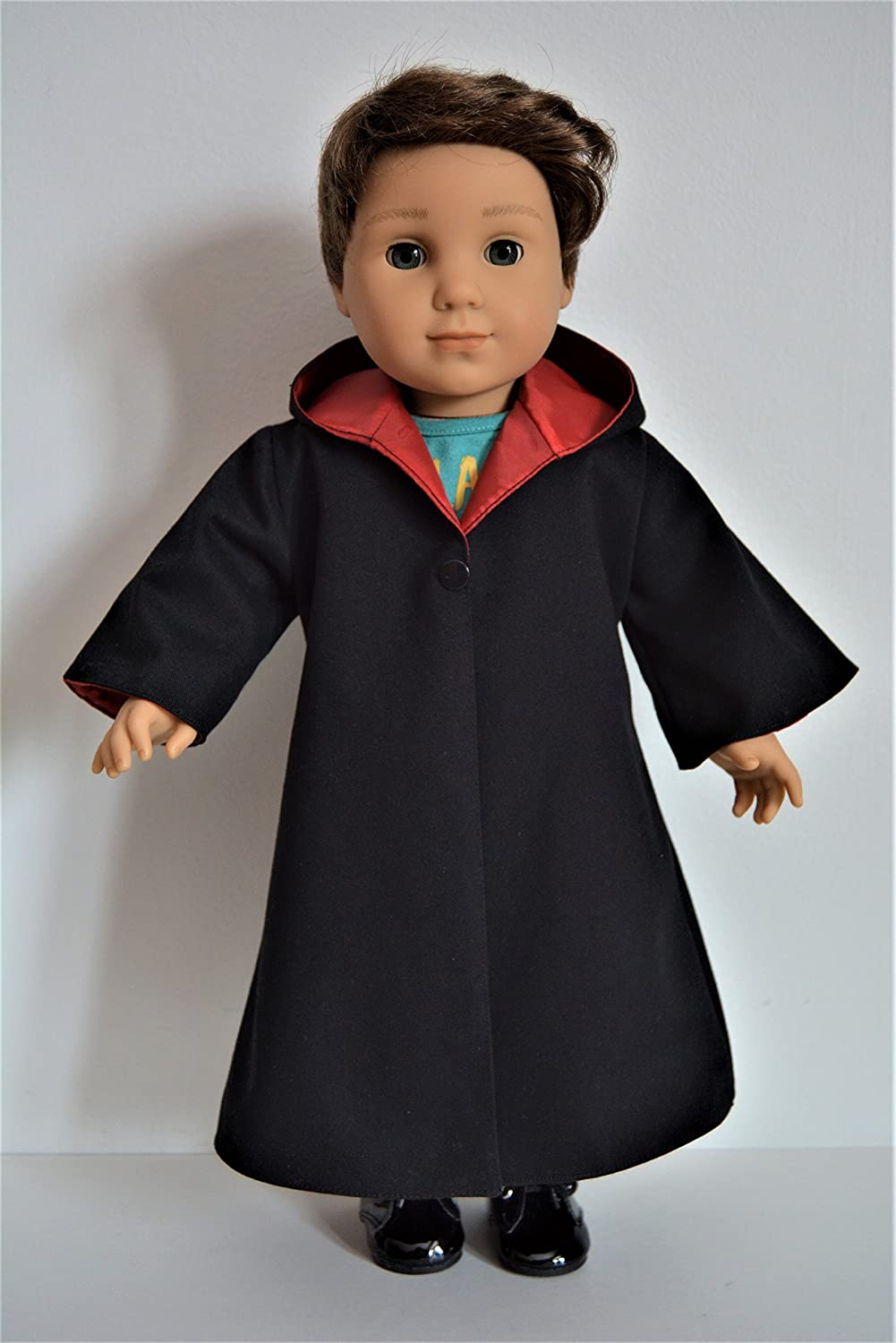 Handmade Wizard School Uniform Costume Cloak Robe Red House Color fit 18 American Girl Boy Dolls