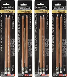 product image for 2-Pack - General Pencil Gen-4414-2BP 2 Pencils/Pack Multi-Pastel Chalk Pencils, White (Sеt оf Тwо)