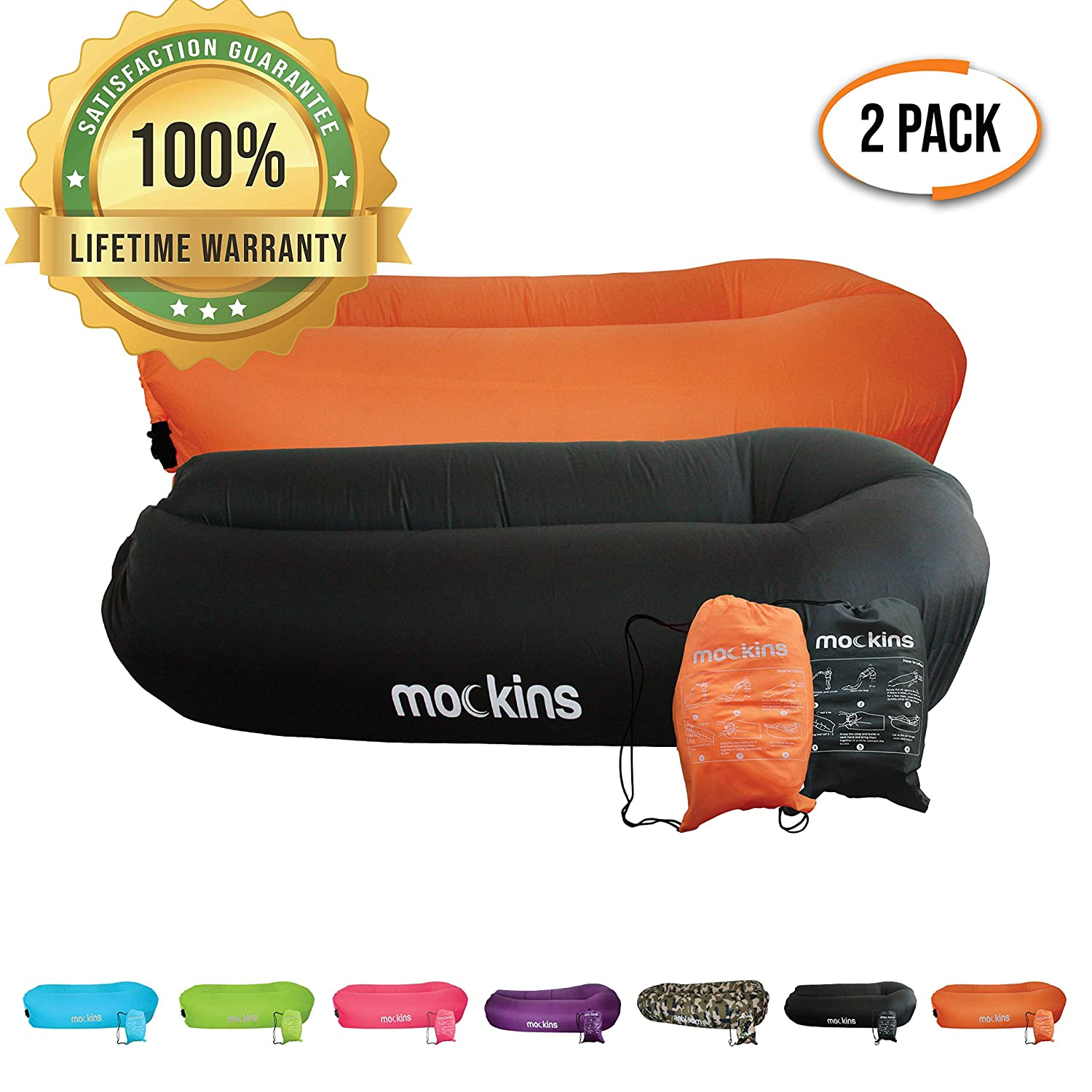 Mockins 2 Pack Black Orange Inflatable Lounger Hangout Sofa Bed with Travel Bag Pouch The Portable Inflatable Couch Air Lounger is Perfect for Music Festivals Or Camping Accessories Inflatable Hammock
