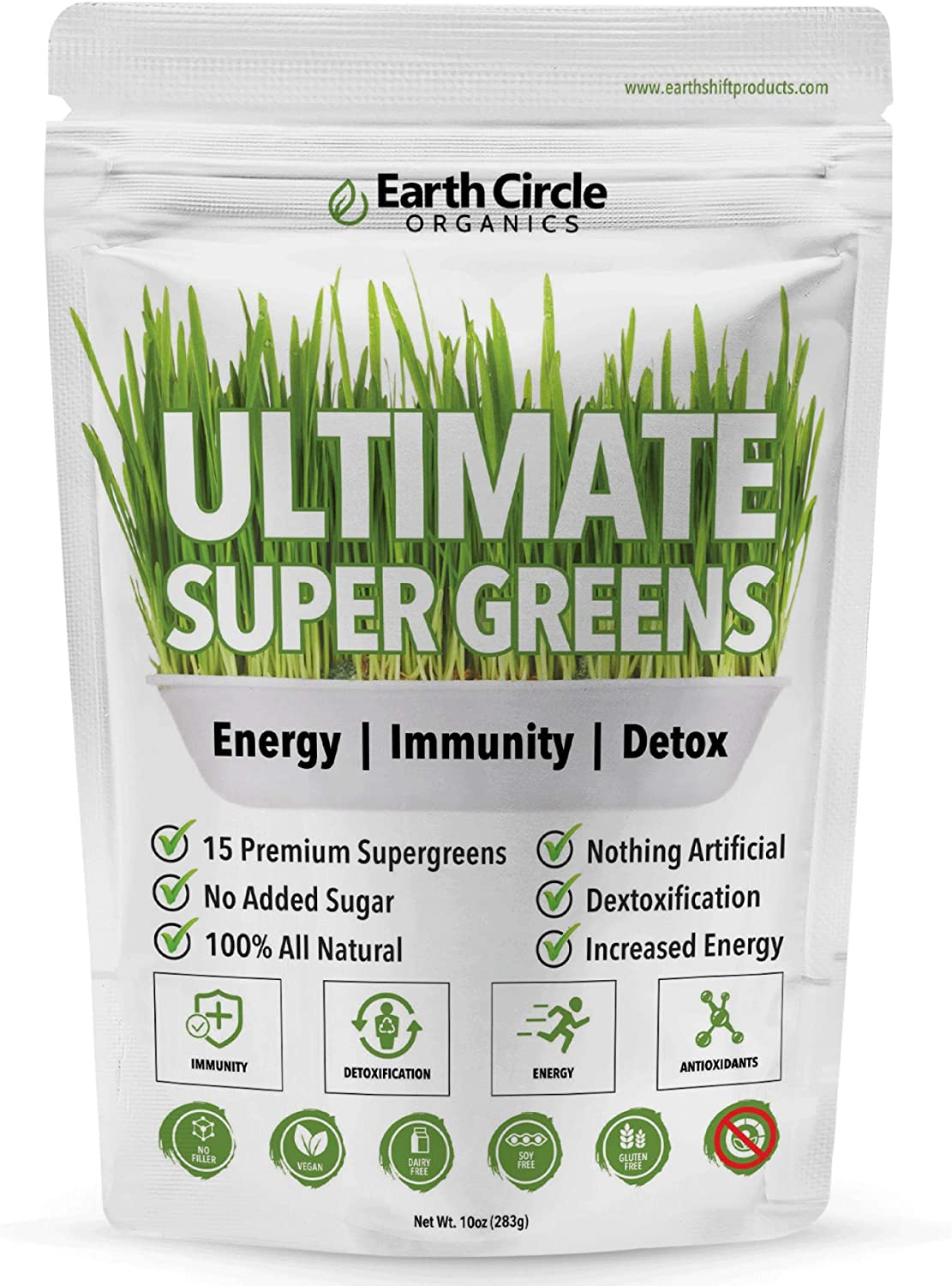 Earth Circle Organics Ultimate Super Greens | 15 Powerful Superfoods | Energy | Immunity Booster | Antioxidants | Weight Management | Probiotics | Smoothie Booster | 30 Servings - 10oz