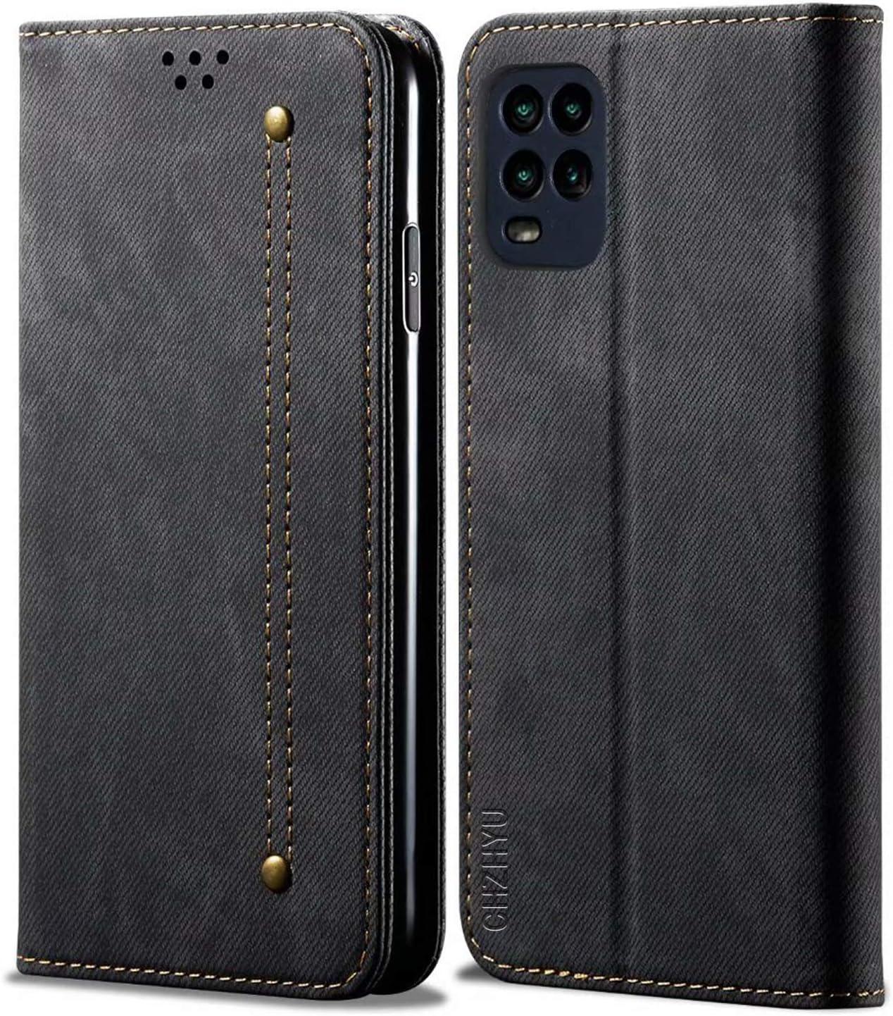 CHZHYU Funda para Xiaomi Mi 10 Lite 5G,Antigolpes Genuino Cuero Flip Folio Carcasa[Magnético][Soporte Plegable][Ranuras para Tarjetas] para Xiaomi Mi 10 Lite (Negro)