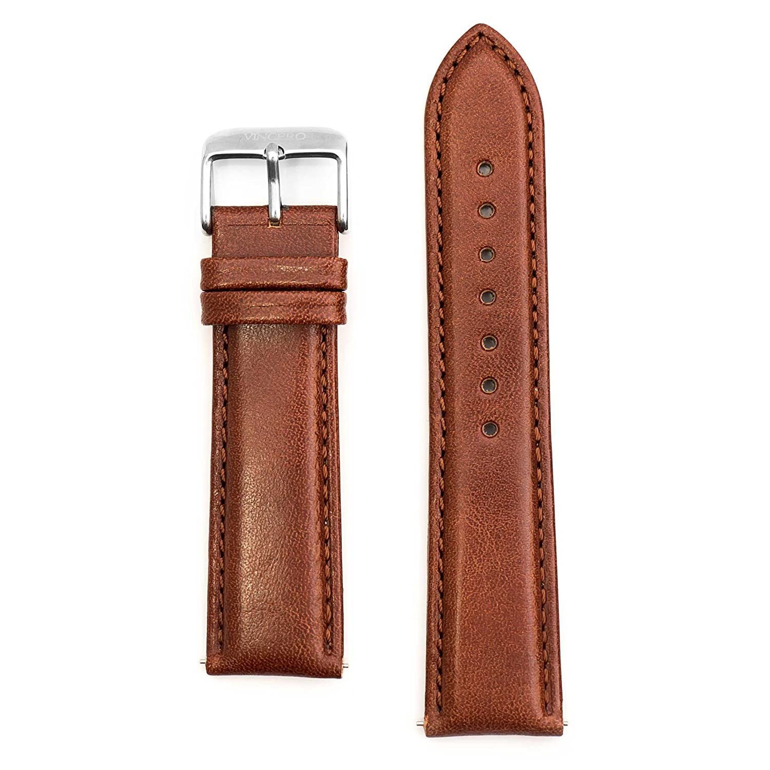 Vinceroクラシック – Cognac Leather Strap Interchangeable Watchバンド( 22 mm )  B073R29M7L