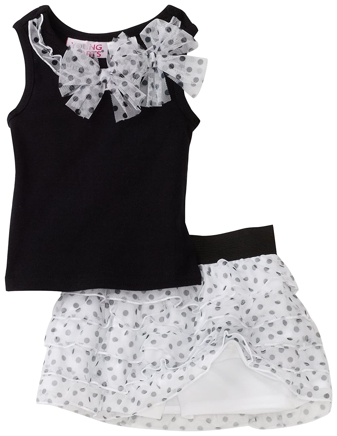 Young Hearts Baby Girls Dotted Rib Top With Mesh Skooter Set