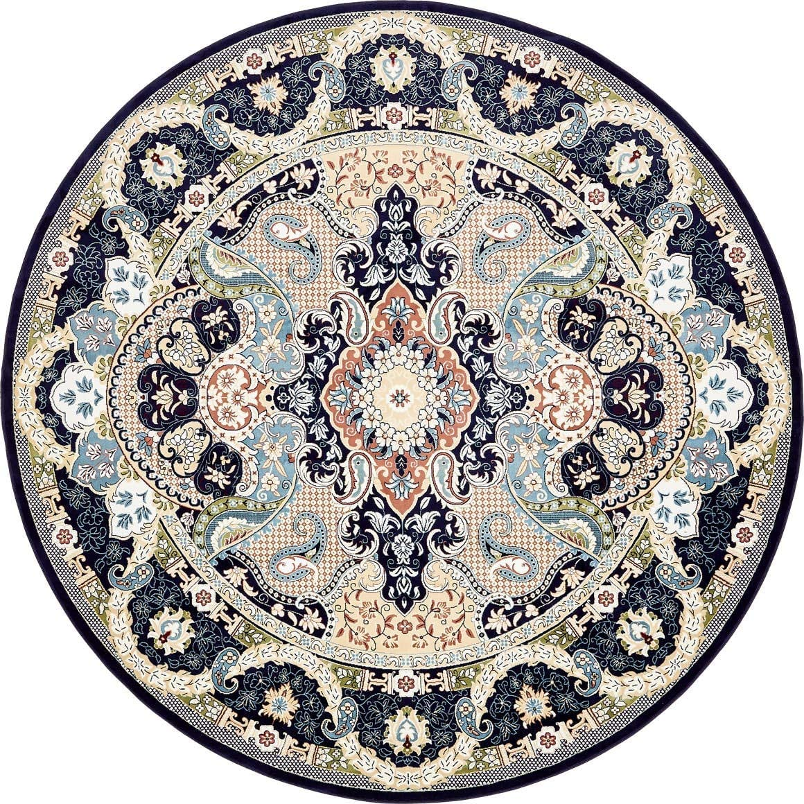 Unique Loom Narenj Collection Classic Traditional Medallion Textured Navy Blue Round Rug 10 0 x 10 0