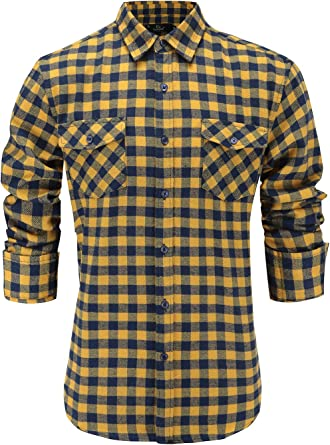 Tymhgt Mens Long Sleeve Plaid Relaxed Fit Stylish Button Front Shirts