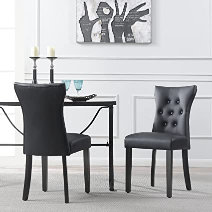 . Belleze Dining Faux Leather Tufted Accent Living Room Nailhead Button Side  Chairs  Set of 2  Black