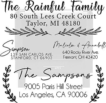 Custom Personalized Rubber Stamp Stationery Last Name Housewarming Script Return Address Stamp Wedding Self Inking Stamp