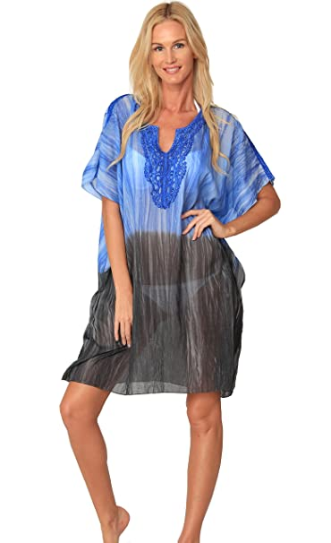 6229e5c192 INGEAR Swimsuit Cover Up Crochet Tunic Dress Casual Wrap Poncho Beachwear  (One Size, Blue) at Amazon Women's Clothing store: