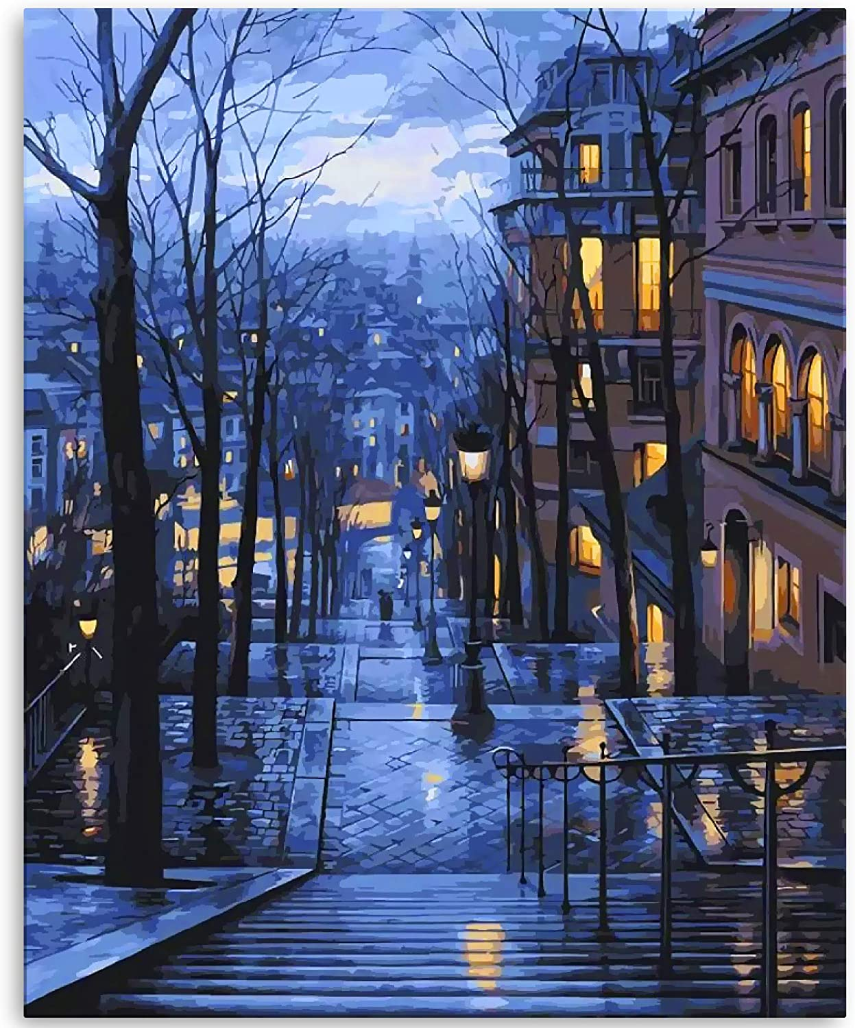Amazon Com Lin A Lex Diy Paint By Numbers For Adults And Kids Canvas Oil Painting Kit Beginners 16 X 20 Inch Arts Craft Home Charming Winter Cityscape Crafts Sewing