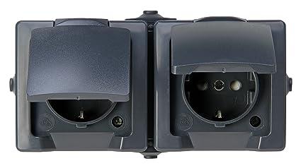 Kopp 137015003 Nautic 2 de toma de corriente con protección de contacto, con Tapa y