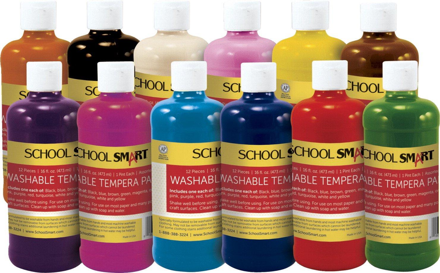School Smart Non-Toxic Washable Tempera Paint Set, 1 pt Plastic Bottle, Assorted Color, Set of 12