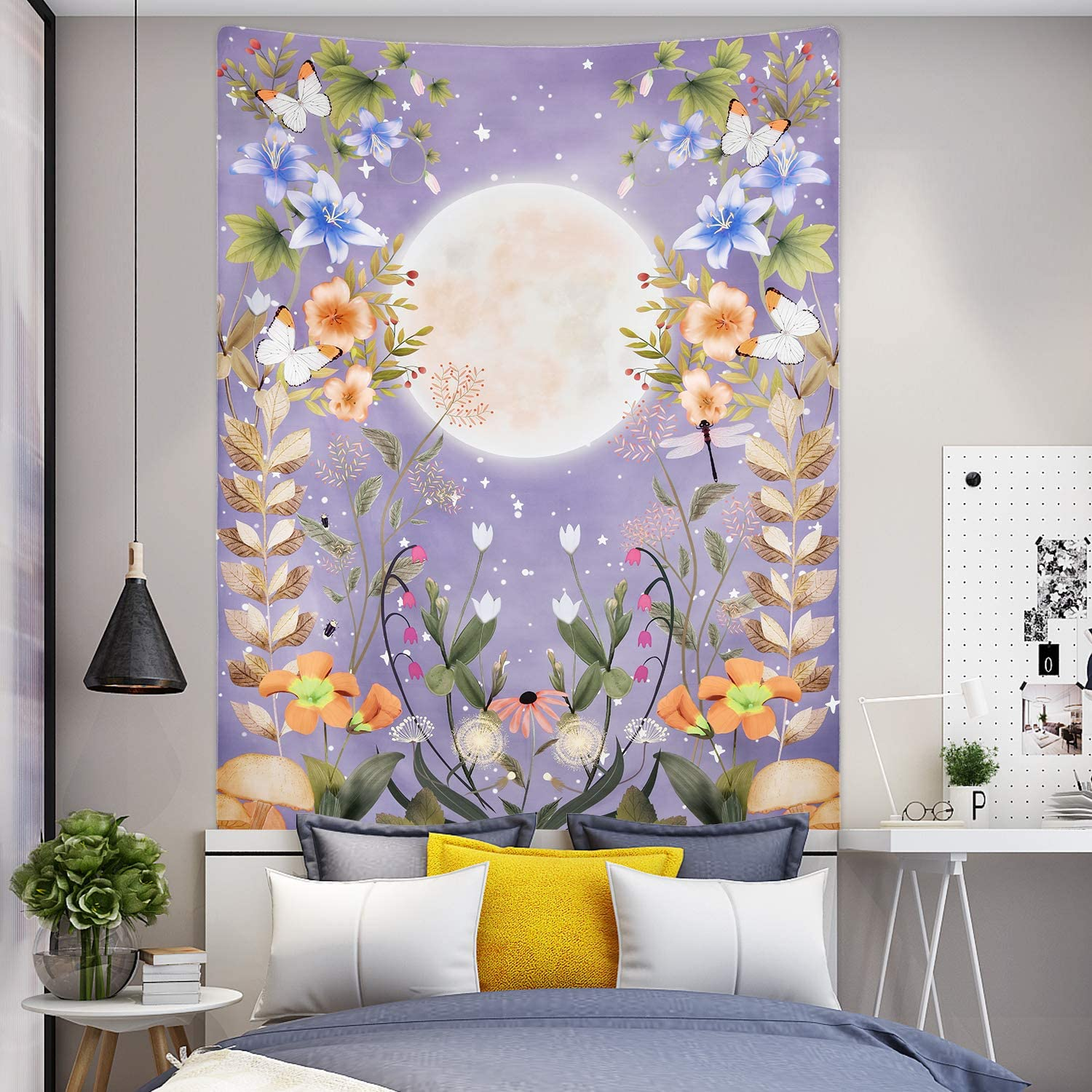 Moonlit Garden Tapestry, Moon Tapestry Floral Vine Tapestry Purple Background Flowers Tapestry Wall Hanging for Room (51.2 x 59.1 inches)