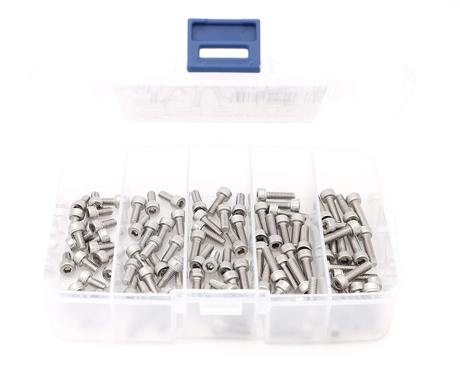 iExcell 100 Pcs M4 x 8mm//10mm//12mm//14mm//16mm Stainless Steel 304 Hex Socket Head Cap Screws Bolts Kit