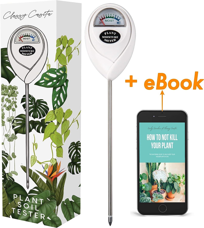 Classy Casita, Soil Meter & eBook, Plant Soil Moisture Tester Kit for Plant Care, Gardening, Farming, Indoor & Outdoor Use
