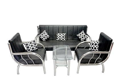 New Nazrana Steel Sofa Set Black Amazon In Electronics
