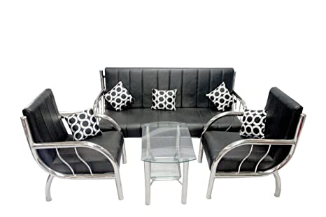 New Nazrana Steel Sofa Set Black Amazon In Home Improvement