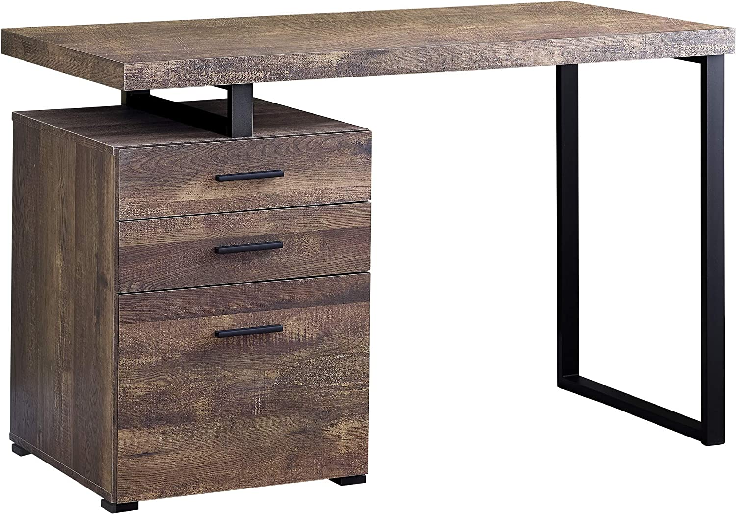 Lef or Right Set- Up Black - Grey Top Monarch Specialties Computer Desk with File Cabinet 48 L