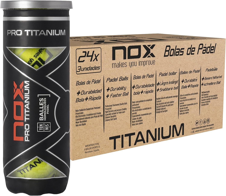 NOX Cajon 24 Botes de 3 Pelotas de Padel Pro Titanium: Amazon.es ...