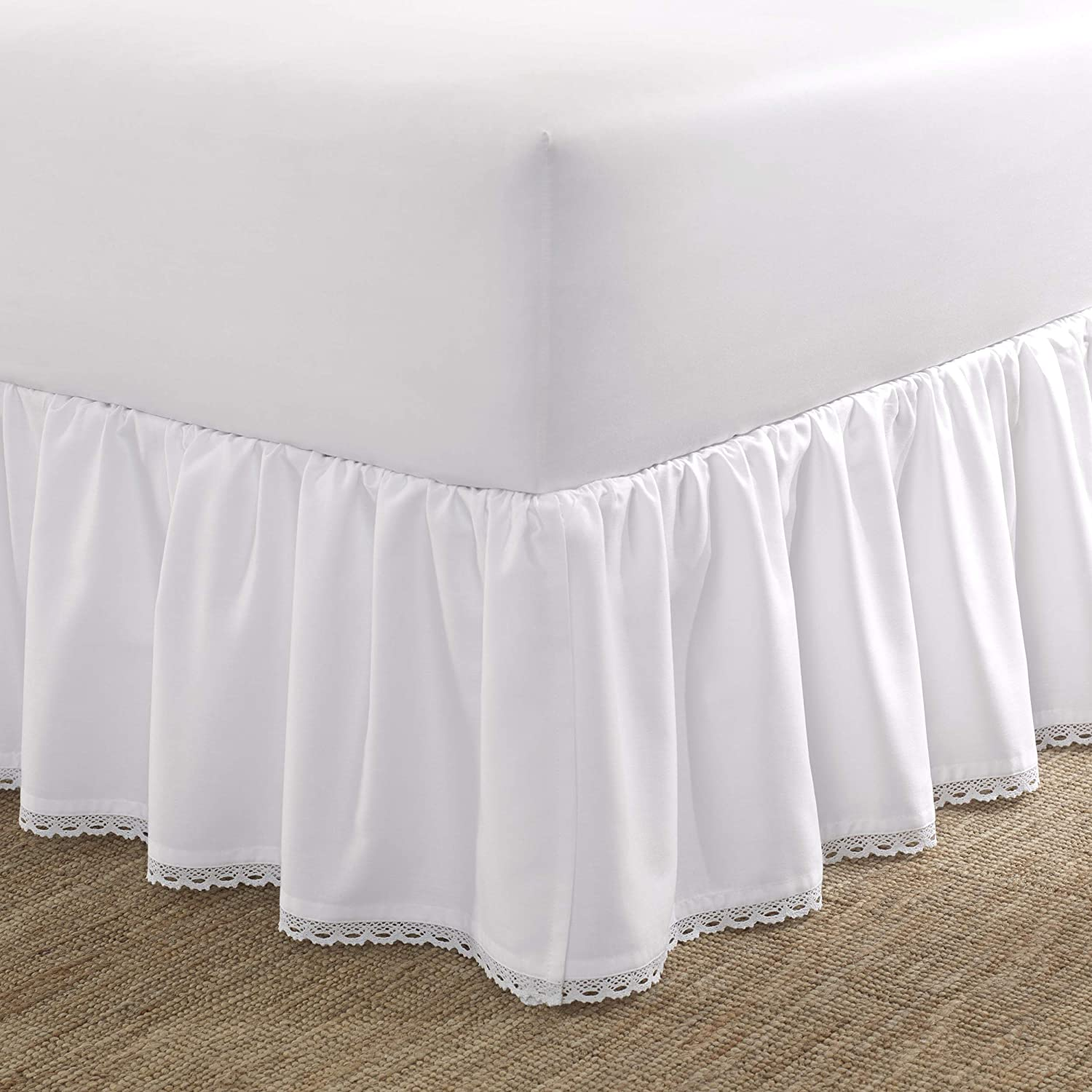 Laura Ashley Home | Crochet Ruffle Collection | Luxury Premium Hotel Quality Bedskirt, Easy Fit, Anti Wrinkle & Fade Resistant, Stylish Design for Home Décor, Twin, White