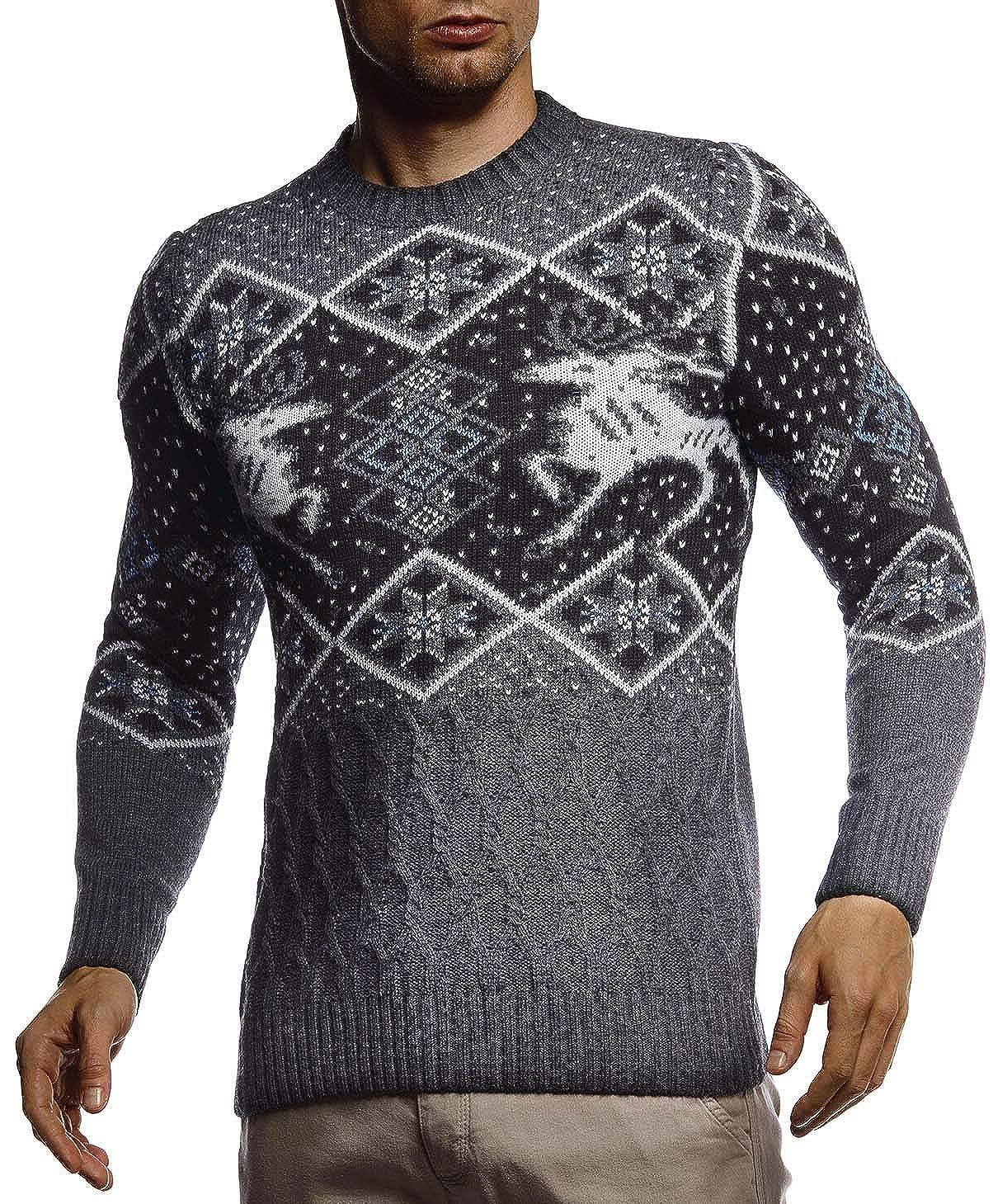 Maglione da Uomo in Maglia Norvegese con Collo Rotondo Inverno Collo Rotondo Modello Norvegese Slim Fit Invernale per Natale Leif Nelson LN20761
