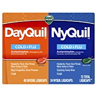 Vicks Dayquil and Nyquil Cough, Cold and Flu Relief, 72 LiquiCaps (48 Dayquil, 24...