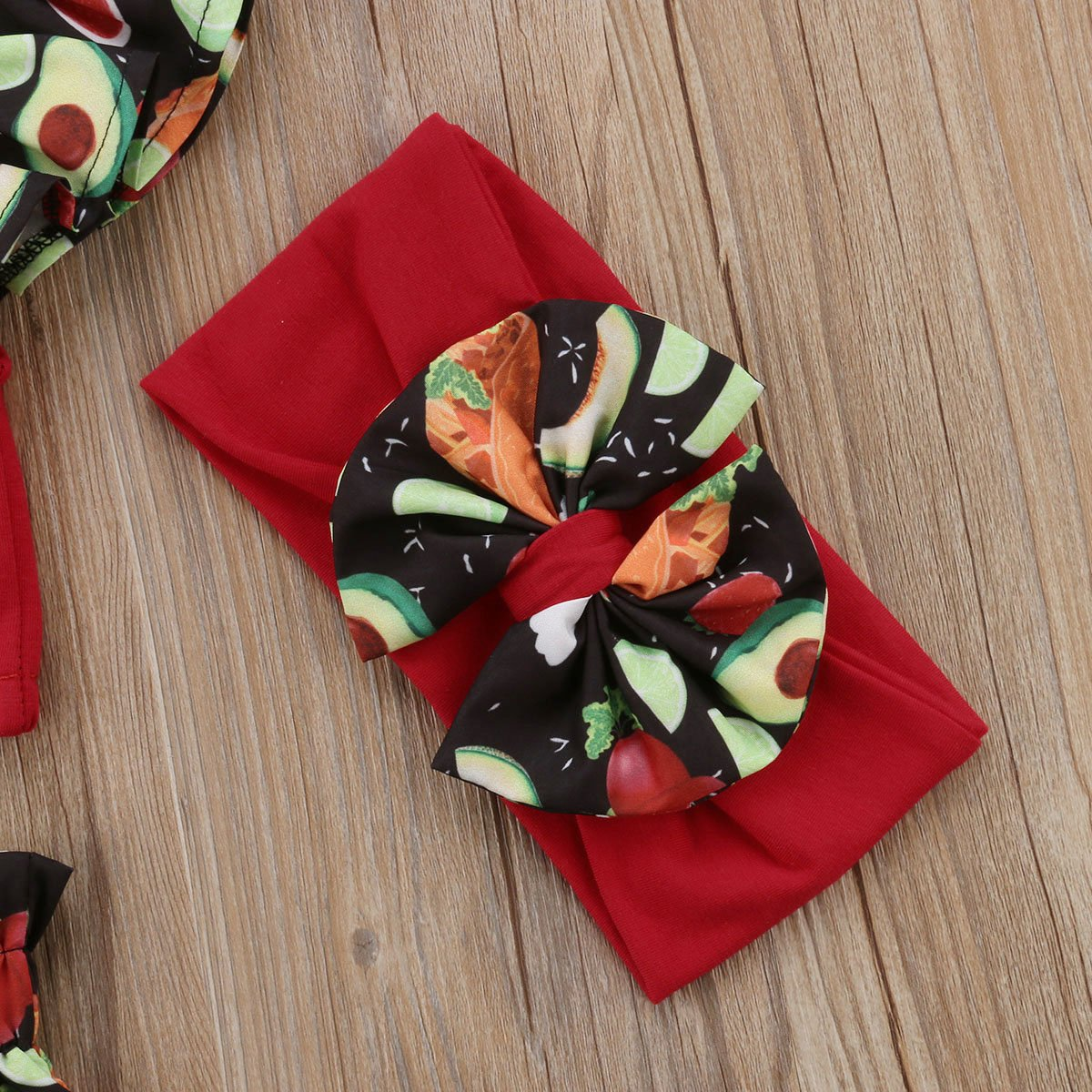GoodFilling Baby Girls Avocados Floral Print Ruffle Vest Top Short Headband 3pcs Outfit
