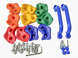 KINSPORY 10Pc Colourful Pig Nose Shape Children Rock Climbing Holds Indoor Outdoor Kids Playground Build with Two Blue Handles - Mounting Hardware Kit Included