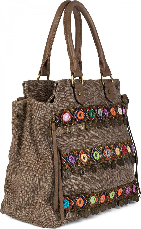borsa a tracolla da donna 02012110 styleBREAKER borsa in tela con manici in stile etnico con ricami effetto juta monete colore:Blu scuro a pois specchi borsa