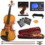 Mendini MV400 Ebony Fitted Solid Wood Violin with Tuner, Lesson Book, Hard Case, Shoulder Rest, Bow, Rosin, Extra Bridge…