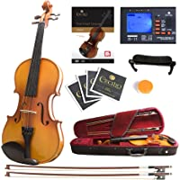 Mendini MV400 Ebony Fitted Solid Wood Violin with Tuner, Lesson Book, Hard Case, Shoulder Rest, Bow, Rosin, Extra Bridge and Strings - Size 1/2