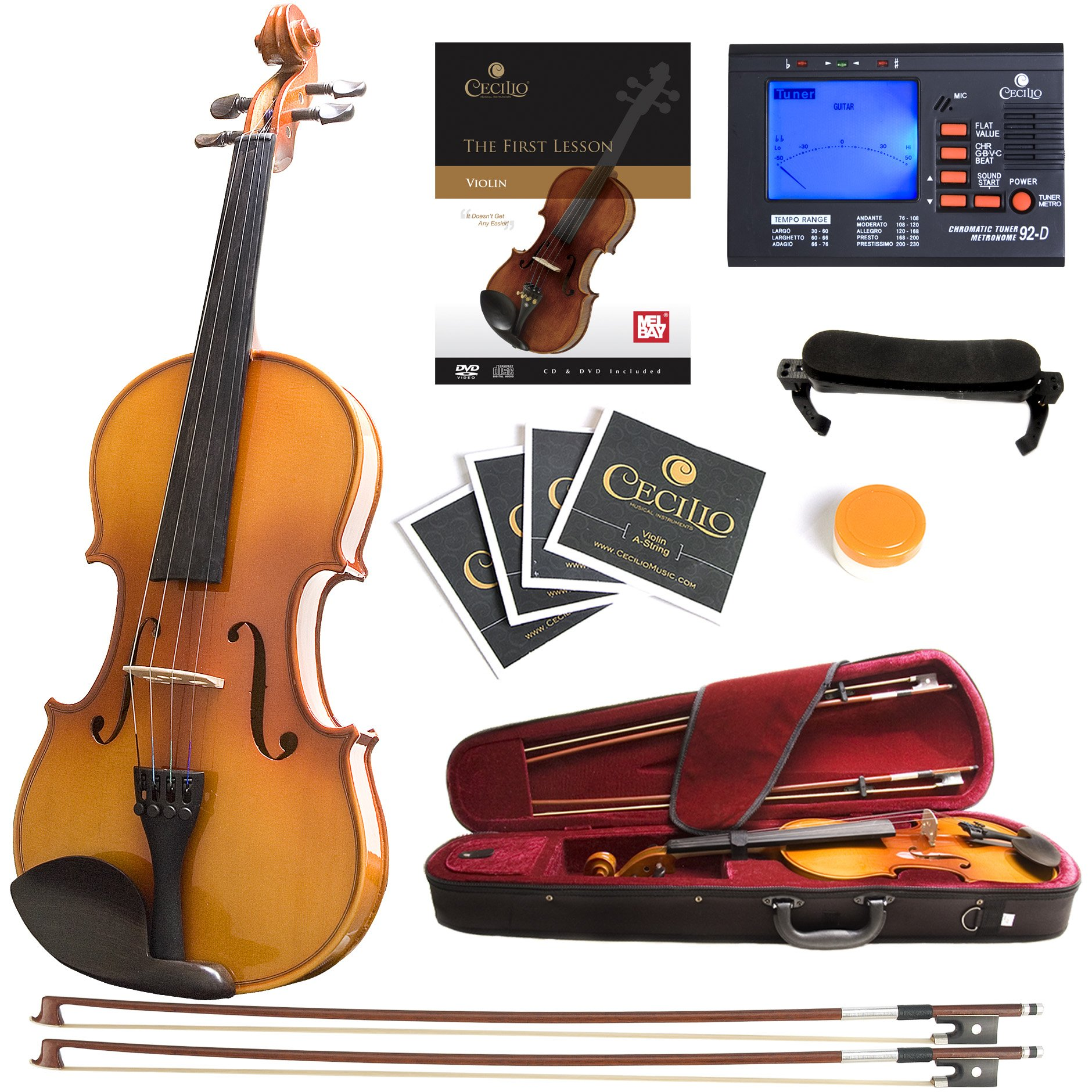 Mendini MV400 Ebony Fitted Solid Wood Violin with Tuner, Lesson Book, Hard Case, Shoulder Rest, Bow, Rosin, Extra Bridge and Strings - Size 4/4, (Full Size) by Mendini by Cecilio
