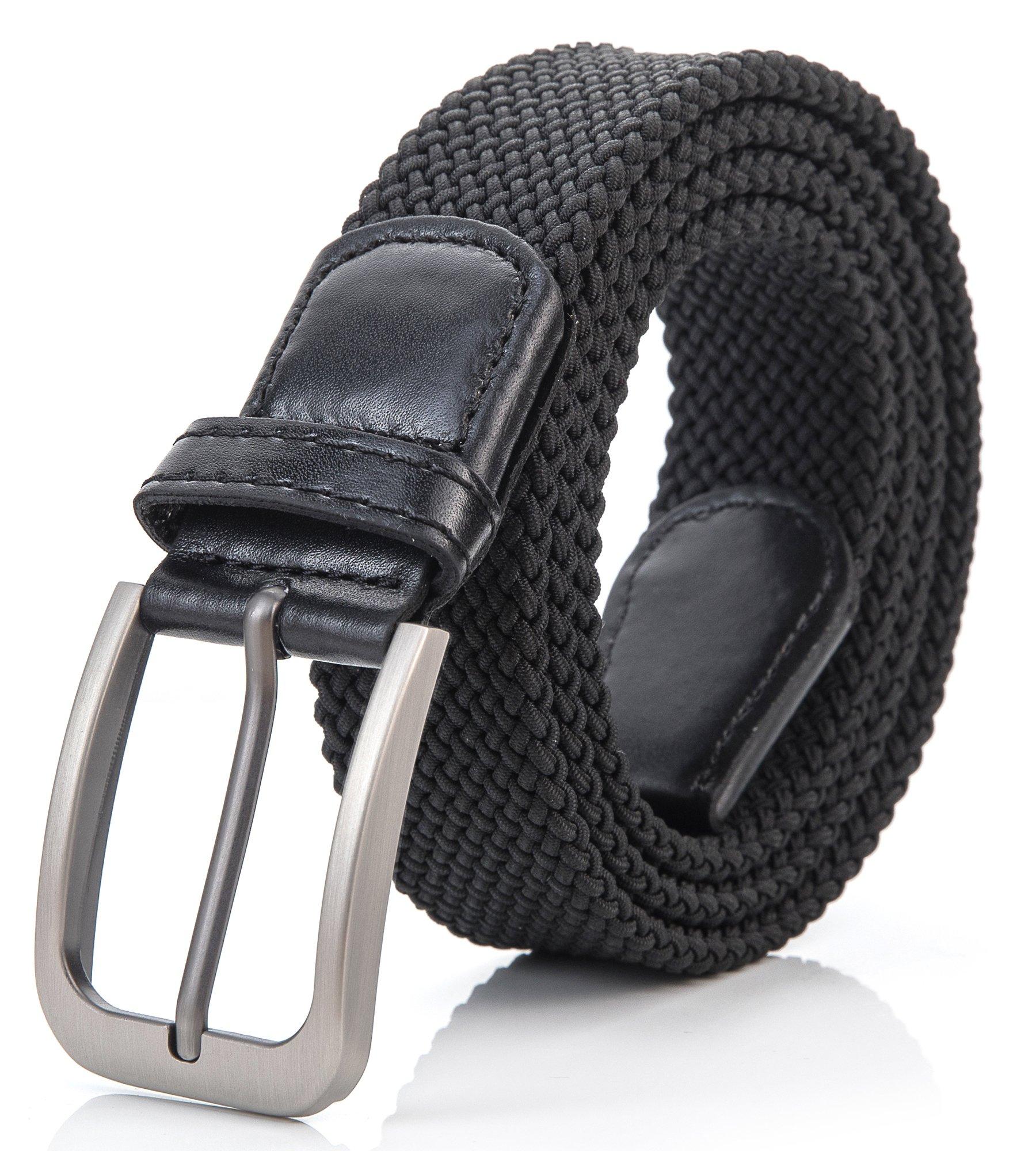 Weifert Belt for Men Braided Stretch Belt/No Holes Elastic Fabric Woven Belts