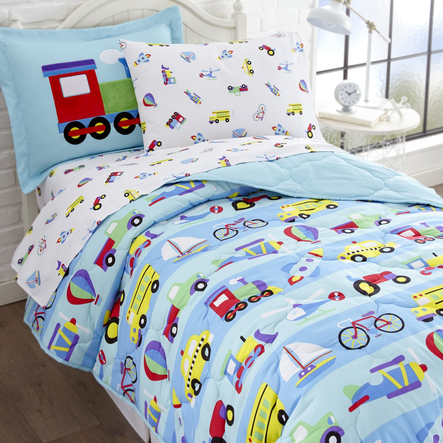 Mermaids Flat Sheet Includes Comforter and Embroidered Sham Fitted Sheet Wildkin 5 Piece Twin Bed-in-A-Bag Olive Kids Design Pillowcase 100/% Microfiber Bedding Set