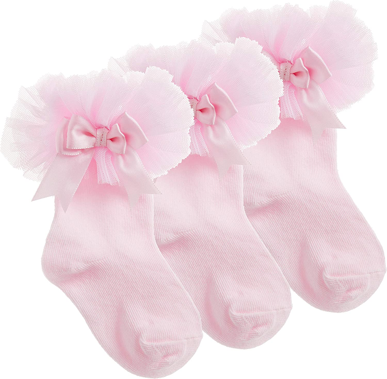 3 Pairs Baby Girls Spanish Tutu Frillly with Cute Bow Christening Baby Shower