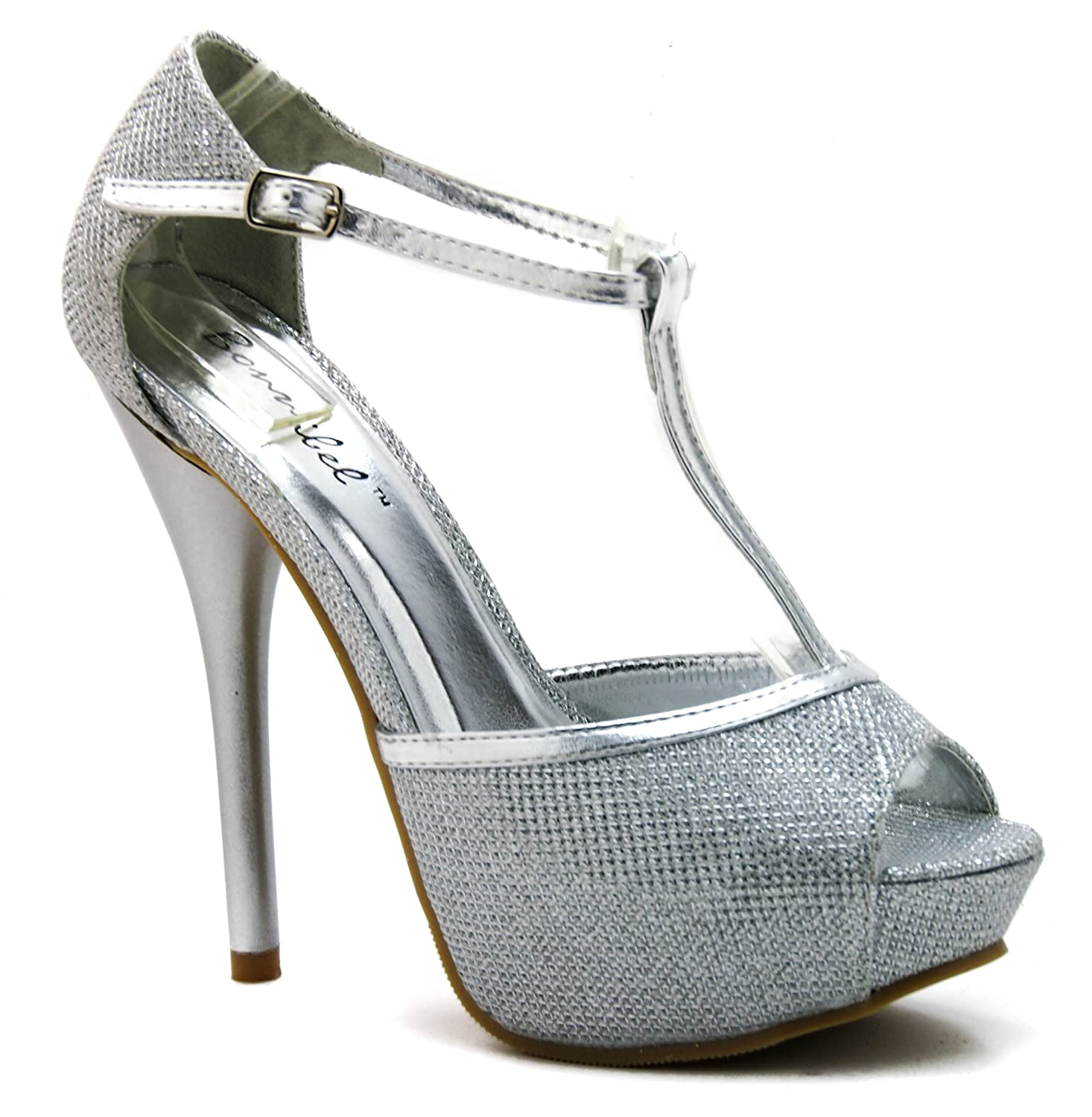 Amazon.com | Glitter Peep Toe T-Strap High Heel Dress Sandal ...