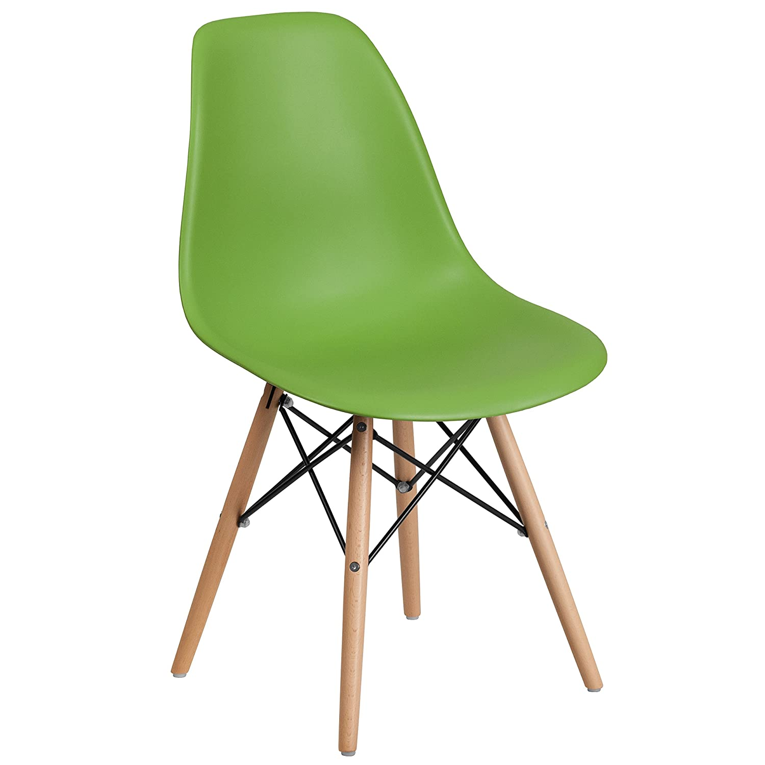 Flash Furniture Elon Series Green Plastic Chair with Wooden Legs