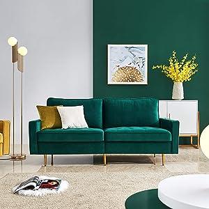 Emerald Green Velvet Fabric Sofa Couch