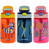 Contigo AUTOSPOUT Kids, 3 Pack - Straw Gizmo Flip, 14oz - Leak and Spill Proof Bottles, Ideal Kids Water Bottle for Home or Travel - Easy-Clean, Dishwasher Safe - Press Button for Pop Up Straw