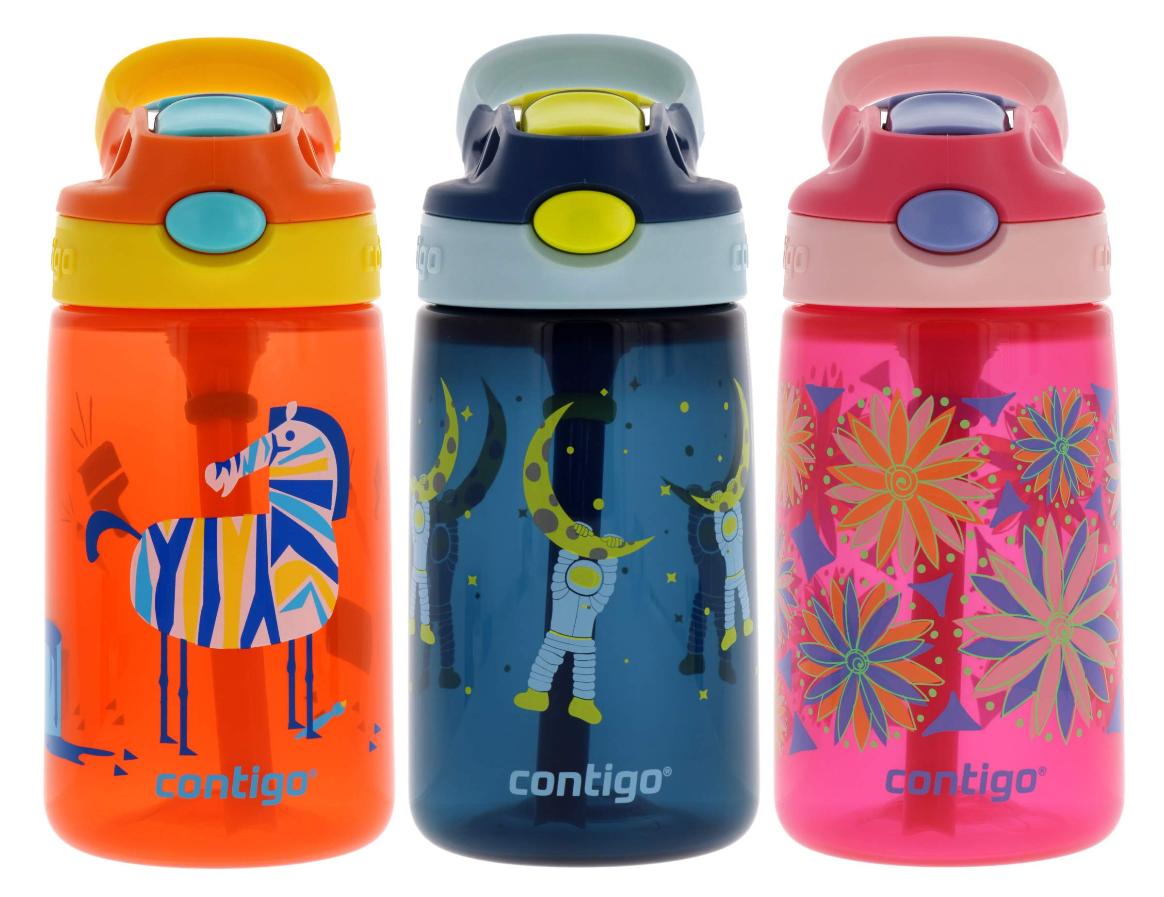 Contigo AUTOSPOUT Kids, 3 Pack - Straw Gizmo Flip, 14oz - Leak and Spill Proof Bottles, Ideal Kids Water Bottle for Home or Travel - Easy-Clean, Dishwasher Safe - Press Button For Pop Up Straw by Contigo