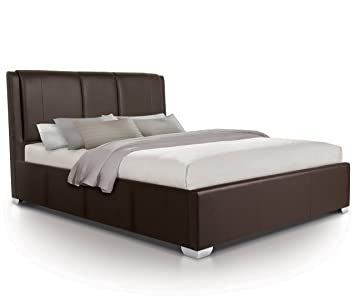Surprising Otto Garrison Modern Padded Luxury Leather Style Extra Storage Ottoman Bed King Size Brown Hb8 Photo Double Machost Co Dining Chair Design Ideas Machostcouk