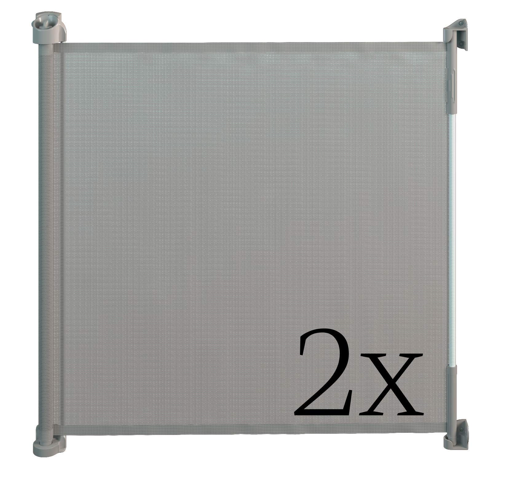 Gaterol Active Lite Gray Double Pack - Retractable Safety Gate - Super Safe 36.6'' Tall and Opens up to 55''