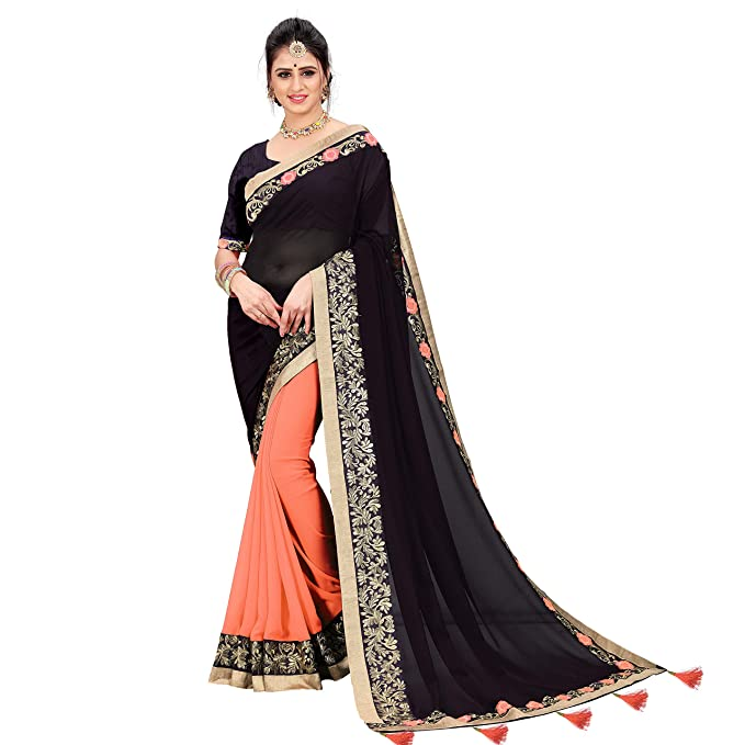 bb3695507ef Being Banarasi Women s Peach Georgette Embroidery Lace Border half half  Saree with Blouse Piece(Free