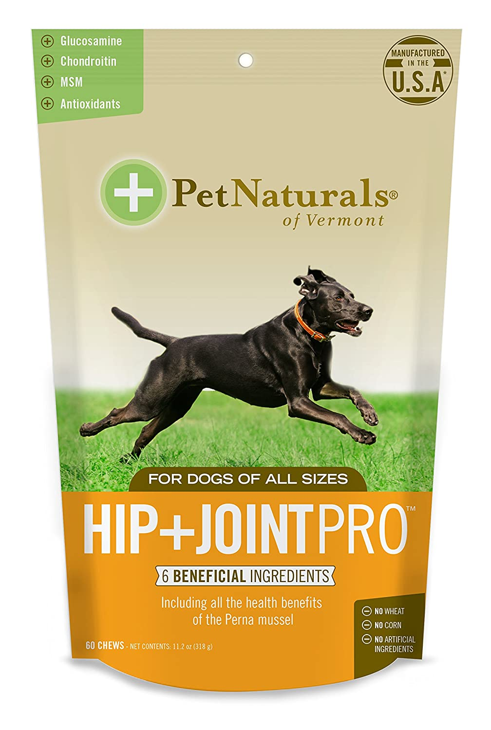 Pet Naturals of Vermont Hip+Joint PRO, Daily Hip and Joint Supplement for Large Dogs, 60 Bite-Sized Chews