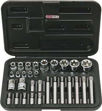 KS Tools 911.4301-2 - Estuche de llaves de vaso y puntas con orificio (1/4